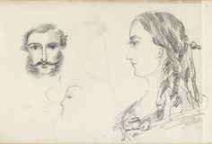 A male head study is shown to the left. He is shown facing forward and has a moustache and sideburns. A bust-length female figure is shown to the right, facing left in profile. She is wearing a dress with a low neckline and has her hair dressed in ringlets by Queen Alexandra   Royal Collection