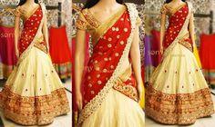White Banarasi Lehenga embellished with brocade border, paired with contrast red dupatta and matching crystal work blouse. To Shop Con. Banarasi Lehenga, Half Saree Lehenga, Kids Lehenga, Bridal Lehenga, Anarkali, Wedding Lehanga, Green Lehenga, Ghagra Choli, Net Saree