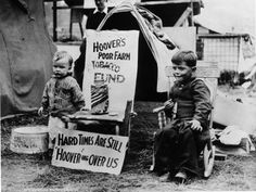 1930s Great  Depression, photo, black and white, living conditions after stock market crash, US, kids, desperation, poverty