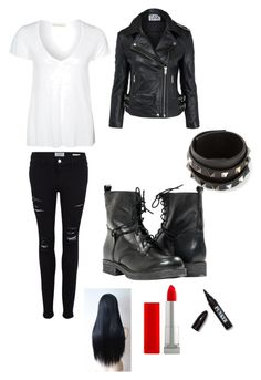 """""""Day With The Greasers. (Outsiders Inspired.)"""" by sethrollinslover ❤ liked on Polyvore featuring American Vintage, Frame, Oak, Paolo Shoes, Valentino, Maybelline and Ardency Inn"""