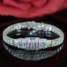 Art Deco Diamond Platinum Bracelet #diamonds #braceletdiamonds