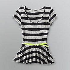 Bongo Junior's Belted Peplum Top - Striped Print - Clothing - Juniors - Tops $17.99