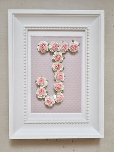 Rose Personalized Initial Frame CUSTOMIZABLE You by shopbowholic