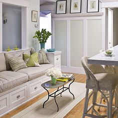 Benches don't have to be reserved just for dining purposes. If you don't want to create a small seating group, these are a great alternative, especially when trying to fill limited wall space. Drawers utilize the height of bench, making storage chic!