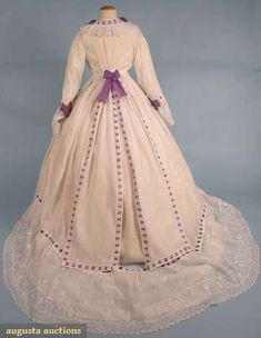 WHITE AFTERNOON DRESS, 1860s