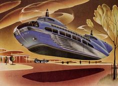 """""""Here comes the flying bus"""" says this Bohn Aluminium advertisement. Featured is a rather large passenger helicopter with a dual rotor and blade system, touted as an advancement in transportation made possible by lightweight aluminum."""