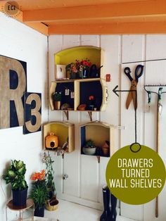 Re-Use Dresser Drawers To Create Wall Shelves (Knock Off Decor) Used Dressers, Old Dresser Drawers, Wooden Drawers, Repurposed Furniture, Diy Furniture, Antique Furniture, Barbie Furniture, Furniture Stores, Garden Furniture
