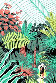 Ces fantastiques illustrations sont l'oeuvre du dessinateur parisien Vincent Mahé qui travaille pour des journaux et magazines allant du Wall Street Journal à Télérama. Vous pouvez aller voir un grand nombre de ses travaux sur ce site. J'aime particulièrement la série qu'il a fait sur l'exploration spatiale :