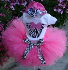 Hot Pink Zebra Minnie Mouse Tutu SetIncludes by KirrasBoutique, $35.95