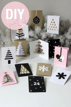DIY Christmas Cards (folded origami-like tree, bottom left corner) Diy Christmas Cards, Noel Christmas, Handmade Christmas, Christmas Decorations, Christmas Greetings, Homemade Cards, Holiday Crafts, Cardmaking, Crafts For Kids