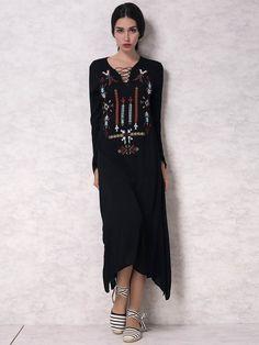 941f7761de Choies Sexy Black Deep V Neck Floral Embroidery Lace Long Shift Summer Dress …
