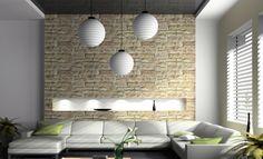 Bildergebnis für steintapete hell wohnzimmer