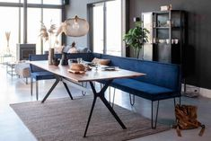 Corner Dining Table, Dining Table With Bench, Dining Room Blue, Kitchen Dining, Dinner Room, Minimalist Home, Furniture, Home Decor, Connect