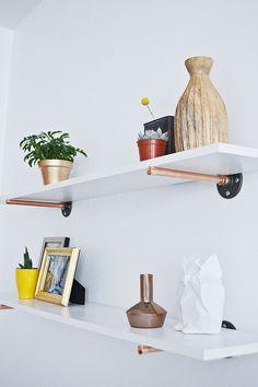 DIY: copper pipe shelves