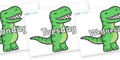Days of the Week on T Rex Dinosaurs