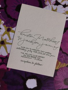 Wedding Invitation Calligraphy Custom Modern Handwritten really like how simple this is, the wording, the writing.