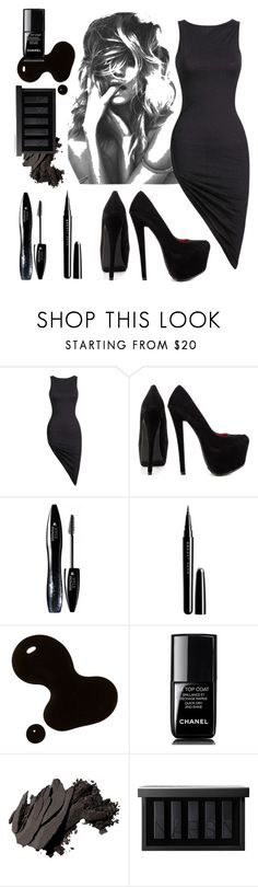 """""""Black and black and black"""" by dat-rhapsody ❤ liked on Polyvore featuring Shoe Republic LA, Lancôme, Marc Jacobs, Chanel, Bobbi Brown Cosmetics and NARS Cosmetics"""