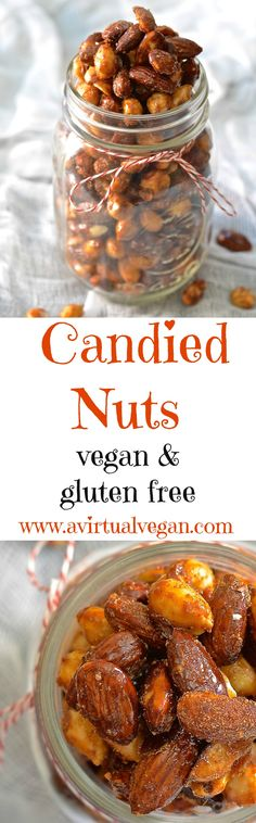 Perfectly sweet & spicy, chewy & crunchy vegan candied nuts. Make a double batch because everybody will go nuts for these (sorry….couldn't resist)! #nuts #candiednuts #vegan #almonds #peanuts #aquafaba