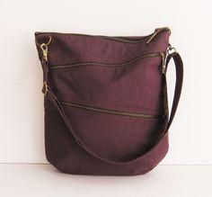 Sale - Water-Resistant Nylon Bag in Deep Plum - Shoulder bag, Messenger bag, Tote, Travel bag, Unisex - ENYA by tippythai on Etsy https://www.etsy.com/listing/62488122/sale-water-resistant-nylon-bag-in-deep