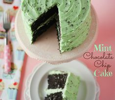 Mint Chocolate Chip Cake recipe. It's amazing.  So rich and chocolatey and not dry in the slightest.  It's a gorgeous almost black color, which contrasts perfectly with the mint chocolate chip buttercream.  It's one of my favorite cakes I've ever made, and I hope you try it and love it too!!