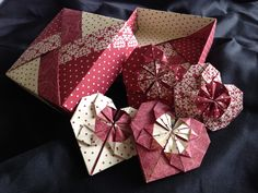 Vintage origami boxes and heart favours.