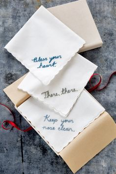 49 DIY Homemade Christmas Gifts - Craft Ideas for Christmas Presents - Country Living Embroidered handkerchiefs Diy Christmas Gifts For Boyfriend, Christmas Crafts For Gifts, Homemade Christmas Gifts, Homemade Gifts, Boyfriend Gifts, Craft Gifts, Holiday Gifts, Christmas Diy, Hostess Gifts