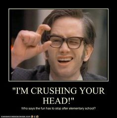 I know it started in the 1980's but I watched Kids in the Hall mostly in the 90's...   I crush, crush your head...