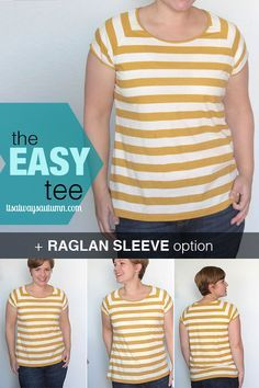 how to sew a basic raglan tee - great easy to follow tutorial and free pattern in size L!