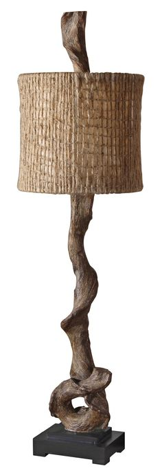 This unique rustic buffet lamp features a weathered driftwood finish with a matching finial and a matte black base. The round drum shade is natural twine with Driftwood Wreath, Driftwood Lamp, Driftwood Sculpture, Driftwood Furniture, Driftwood Projects, Farmhouse Lamps, Farmhouse Table, Glass Supplies, Creation Deco