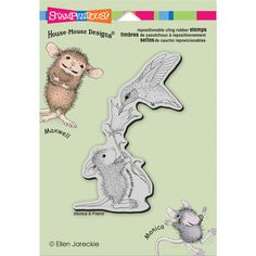 STAMPENDOUS-House Mouse Cling Rubber Stamps. Simply remove the disposable acetate layer revealing the vinyl cling with printed image, press onto a block, align and stamp! Use any ink that can be used with traditional wood-mounted stamps and clean with wood- mounted stamp cleaner. This package contains Hummingbird Feeder: one cling rubber stamp on a 5-1/2x4-1/2 inch backing sheet. Made in USA.
