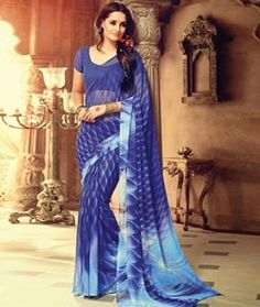 Buy Blue Georgette Printed Saree With Blouse 74839 with blouse online at lowest…