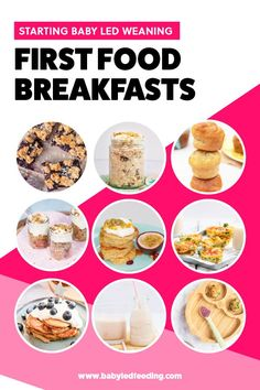 The Ultimate List of Baby Led Weaning First Foods Breakfast. This list is pretty extensive, and I have designed it to suit both busy mornings and lazy weekends. I have sectioned it also into oats, muffins, pancakes, loaded spoon (a great way to get your baby using cutlery), eggs, smoothies.  #babyledweaning #firstfoods #blw6months #babyledfeeding #babybreakfasts #babyledweaningbreakfast #blwbreakfast #firstbreakfast #firstfoodsbreakfast #babybreakfast Baby Led Weaning Breakfast, Baby Led Weaning First Foods, Baby Breakfast, Healthy Breakfast Muffins, Perfect Breakfast, Breakfast Recipes, Baby Weaning, Egg Free Pancakes, Low Budget Meals