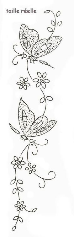 might be a pretty embroidery pattern Embroidery Transfers, Hand Embroidery Patterns, Vintage Embroidery, Embroidery Designs, Butterfly Embroidery, Embroidery Applique, Cross Stitch Embroidery, Machine Embroidery, Butterfly Stitches