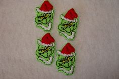 GRINCH - 4 Machine Embroidered Embellishments / Appliqués - Ready To Ship - pinned by pin4etsy.com