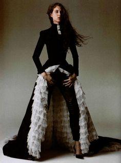 """ L'Exception: Givenchy Spring 1999 haute couture by Alexander McQueen; photographed by Olivier Desarte for L'Officiel #833, March 1999. """