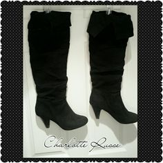 Charlotte Russe Boots Pre loved faux suede knee high black boots. They have an adjustable type ribbon under the fold as shown in the picture. Insides are soft on the leg.The back of the heels have some scuff marks. Charlotte Russe Shoes Heeled Boots