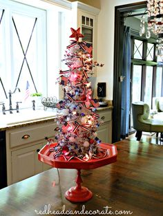 Fourth of July Christmas Tree - Redhead Can Decorate christmas is july ideas Fourth Of July Decor, 4th Of July Decorations, 4th Of July Party, Christmas Tree Decorations, July 4th, Holiday Tree, Christmas In July, Xmas Tree, Holiday Decor