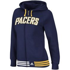 adidas Indiana Pacers Ladies Navy Blue Nothing But Net Full Zip Hoodie  Sweatshirt 7aab7aca850aa