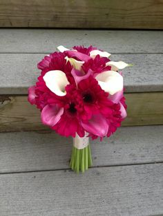 hot pink gerberas, pink and white calla lilies, wedding bouquet