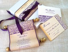 Scroll wedding invitation, scroll invitation with damask stencil, eggplant and gold, fabric scroll, medieval wedding,10