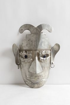 Vintage Silver Tin Mexican Tribal Mask with Glass Eyes