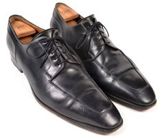 SANTONI Black Leather Moc Toe Derby Oxford Mens Dress Shoes US 13 D #Santoni #Oxfords