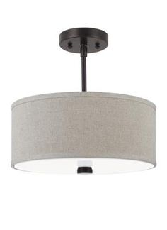 Seagull Two Light Flush / Semi-Flush Convertible from the Dayna Shade Pendants Collection in Burnt Sienna finish. - From Creative Lighting. Flush Mount Lighting, Pendant Lighting, Task Lighting, White Acrylics, Fabric Shades, Drum Shade, Ceiling Fixtures, Bulb, Decorative Metal