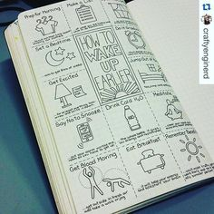 I NEED this page in my bullet journal! How to wake up earlier layout for your bullet journal Bullet Journal Agenda, How To Bullet Journal, Bullet Journal Junkies, Bullet Journal Inspo, Bullet Journals, Art Journals, Bujo, To Do Planner, Happy Planner