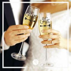 Wedding Flute Decals - His And Hers