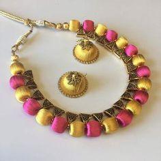 Handmade Silk Thread Necklace Set – Sarang Silk Thread Necklace, Thread Jewellery, Long Tassel Earrings, Necklace Set, Silk Sarees, Jewelry Sets, Handmade, Color, Hand Made