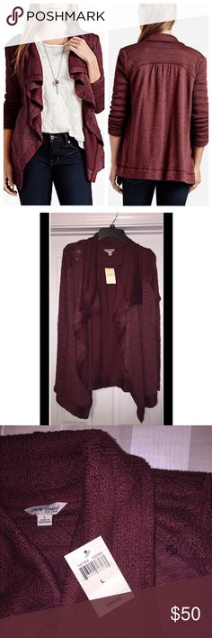 Lucky Brand Drapey Swit Mix Wrap in Burgundy Effortless sweater wrap in a draped waterfall silhouette. Features long sleeves, paneled detailing and a super soft finish. Lucky Brand Sweaters Cardigans
