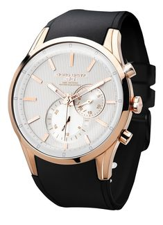 Jorg Gray JG5100-34 Men's Watch Multifunction White Striped Dial With Rose Gold Case Black Strap