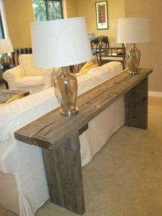 Handcrafted Reclaimed Barn Wood Console - Not sure if this is too heavy as sofa table, but also like it. Diy Home Decor, Room Decor, Barn Wood Projects, Reclaimed Barn Wood, Barnwood Ideas, Wood Furniture, Wood Sofa, Furniture Design, Coaster Furniture