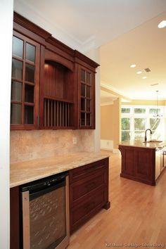 Kitchen Backsplash Ideas With Cherry Cabinets galley kitchen dark cherry cabinets, panel for fridge and range